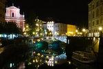 River Ljubljanica, the triple bridge and Preseren Square