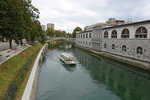 The Ljubljanica River, on the right is the Ljubljana Central Market